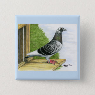 Racing Homer On the Landing Board 15 Cm Square Badge