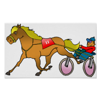 Racing Horse And Buggy Poster