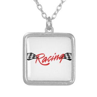 Racing Logo Square Pendant Necklace