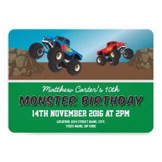 Racing Monster Jam Trucks Personalized Birthday 13 Cm X 18 Cm Invitation Card