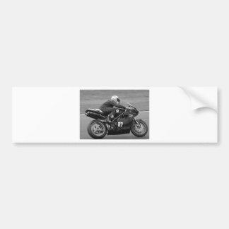 Racing motorcycle bumper sticker