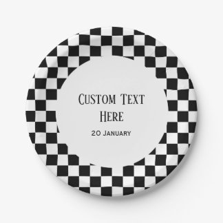 Racing Party Plates, Racing Checkered Paper Plate