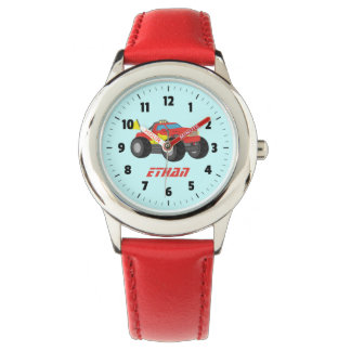 Racing Red Monster Truck, for Boys Watch