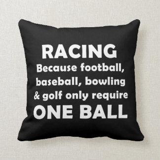 Racing requires balls throw pillow