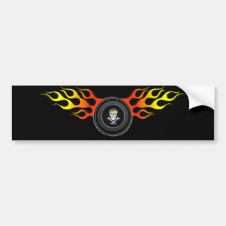 Racing Skull in Flaming Wheel Bumper Sticker