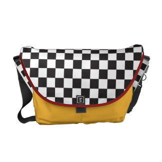 Racing Stripe Black And White Checker Custom Commuter Bag