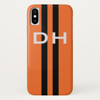 Racing Stripes:  Black on Orange With Initials iPhone X Case