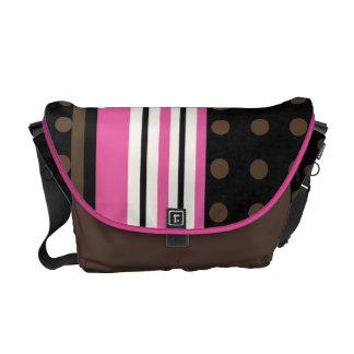 Racing Stripes with Polka Dots Brown and Pink Messenger Bag