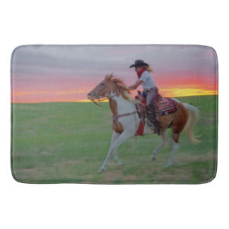Racing the Sunset Cowgirl Bath Mat