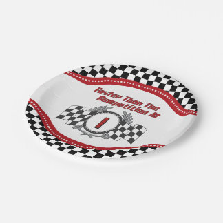 Racing Themed 1st Birthday Paper Plate