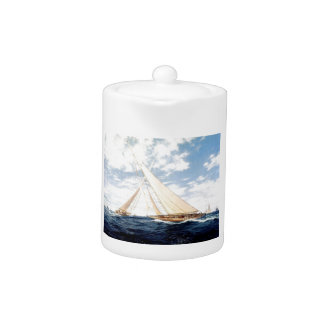 Racing yacht at sea, Edwardian,