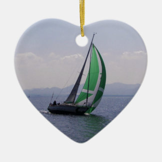 Racing yacht. ceramic heart decoration
