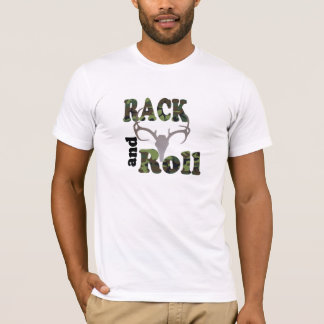 Rack and Roll Green Camo Deer Antlers Shirt