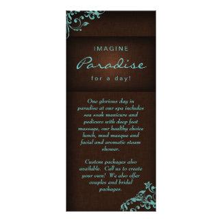 Rack Card Floral Linen Salon Spa Blue Brown