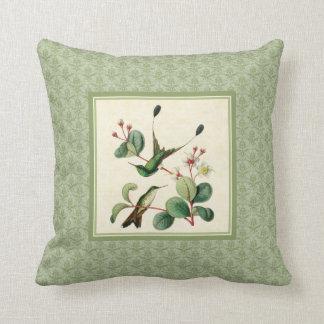 Racket Tail Hummingbirds Damask Pillow