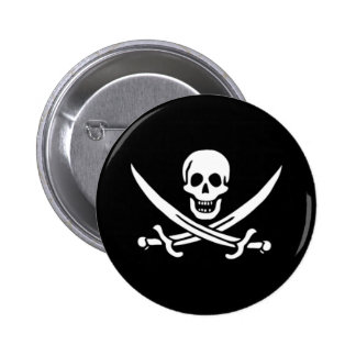 Rackham Pirate Skull Pin 2 Inch Round Button