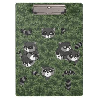 Racoon Family in a Bush Clipboard