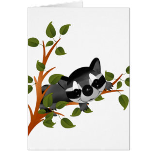 Racoon in a Tree Card