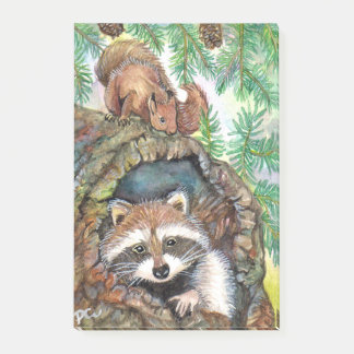 Racoon In The Tree Hole With Squirrel Post-it Notes