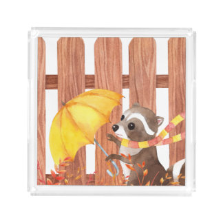 racoon with umbrella walking by fence acrylic tray