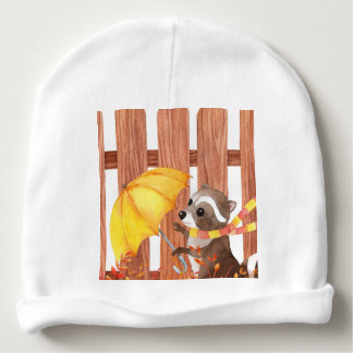racoon with umbrella walking by fence baby beanie
