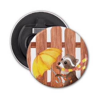 racoon with umbrella walking by fence bottle opener