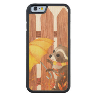 racoon with umbrella walking by fence carved maple iPhone 6 bumper case