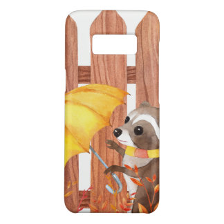 racoon with umbrella walking by fence Case-Mate samsung galaxy s8 case