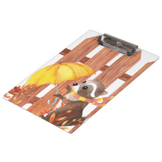 racoon with umbrella walking by fence clipboard