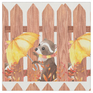 racoon with umbrella walking by fence fabric
