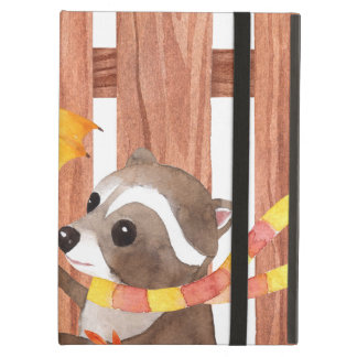 racoon with umbrella walking by fence iPad air case