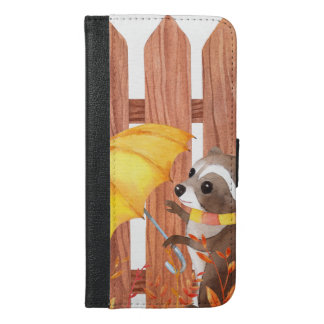 racoon with umbrella walking by fence iPhone 6/6s plus wallet case