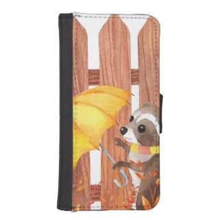 racoon with umbrella walking by fence iPhone SE/5/5s wallet case
