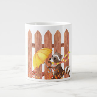 racoon with umbrella walking by fence large coffee mug