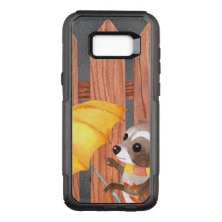 racoon with umbrella walking by fence OtterBox commuter samsung galaxy s8+ case