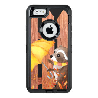 racoon with umbrella walking by fence OtterBox defender iPhone case