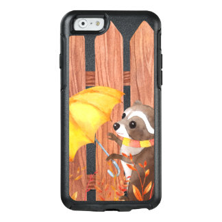 racoon with umbrella walking by fence OtterBox iPhone 6/6s case
