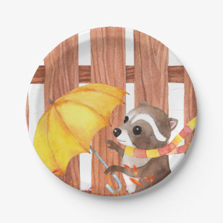 racoon with umbrella walking by fence paper plate