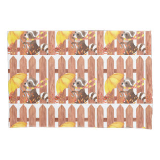 racoon with umbrella walking by fence pillowcase