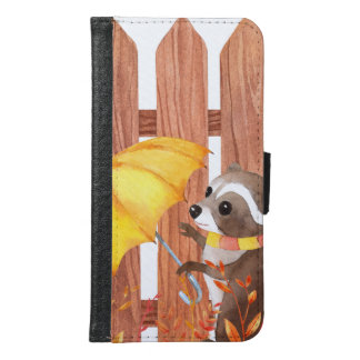racoon with umbrella walking by fence samsung galaxy s6 wallet case