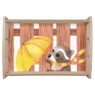 racoon with umbrella walking by fence serving tray
