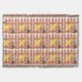 racoon with umbrella walking by fence throw blanket
