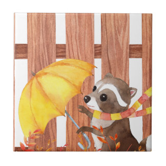 racoon with umbrella walking by fence tile