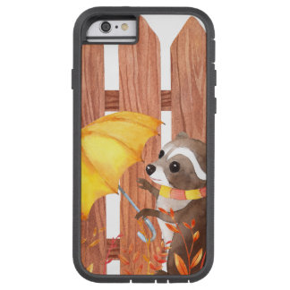 racoon with umbrella walking by fence tough xtreme iPhone 6 case