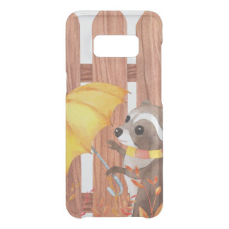 racoon with umbrella walking by fence uncommon samsung galaxy s8 case