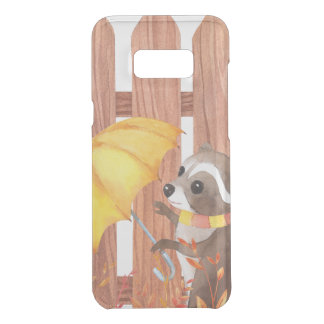 racoon with umbrella walking by fence uncommon samsung galaxy s8 plus case