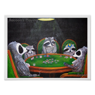 Racoon's Playing Poker Poster