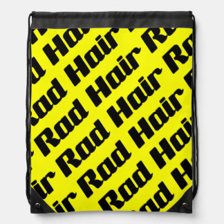 Rad Hair Typography Black And Yellow Text Pattern Drawstring Backpack