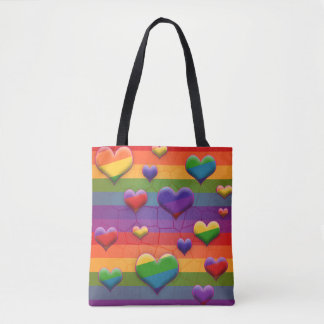 Rad Rainbow Hearts Tote Bag
