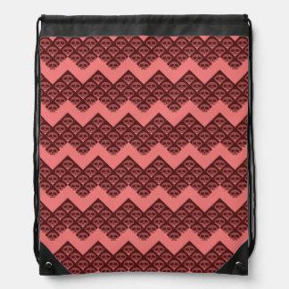 Rad Raspberry Skulls Drawstring Bag